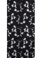 Lazer Kesimli Yaprak Desenli Siyah Kumaş - K3260
