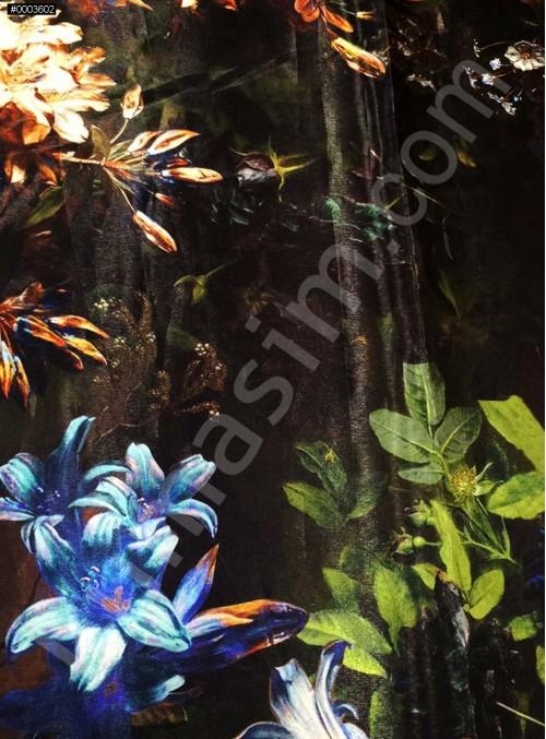 Doğa Renkli Çiçek Desenli Saydam Empirme Saten Kumaş - K3358