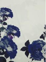 Elbiselik Desenli Mavi Dupont Saten Kumaş - K3361