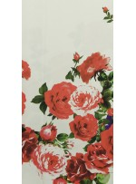 Elbiselik Desenli Turuncu Dupont Saten Kumaş - K3361