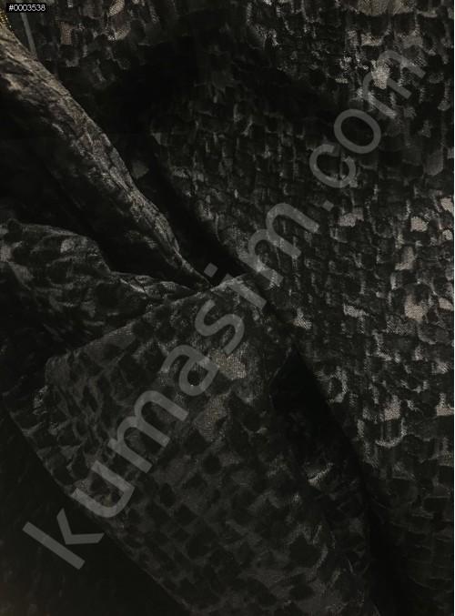 Desenli Siyah Ceketlik ve Kabanlık Astragan Kürk Kumaş - K3419