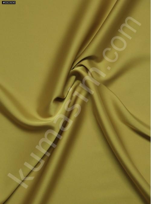 Elbiselik İpeksi Hardal Likra Saten Kumaş - 3437
