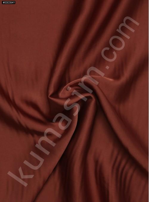 Elbiselik İpeksi Kiremit Likra Saten Kumaş - 3437