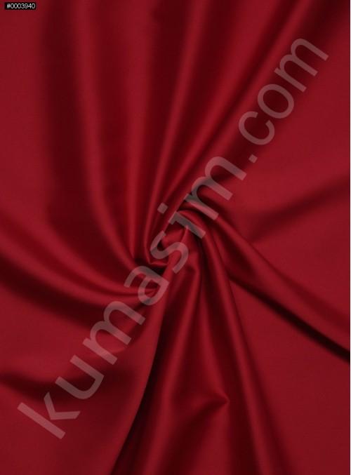 Elbiselik İpeksi Kırmızı Likra Saten Kumaş - 3437