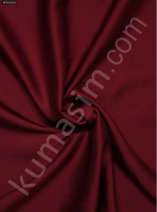 Elbiselik İpeksi Koyu Kırmızı Likra Saten Kumaş - 3437