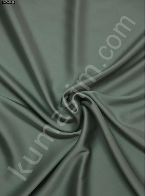 Elbiselik İpeksi Kül Yeşil Likra Saten Kumaş - 3437