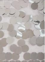 18 MM Büyük Seyrek Payetli Gümüş Payetli Kumaş - K3518