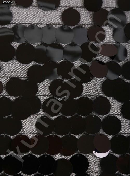 18 MM Büyük Seyrek Payetli Siyah Payetli Kumaş - K3518