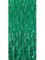 Dalga Desenli Yeşil Payetli Kumaş - K3541