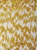 3mm ve 5mm Ritim Desenli Payetli Gold Kumaş - K3556