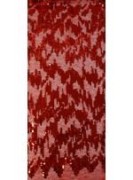 3mm ve 5mm Ritim Desenli Payetli Kırmızı Kumaş - K3556