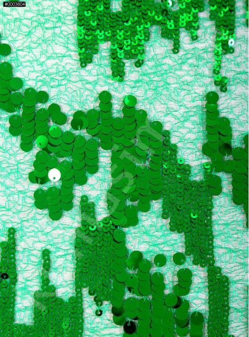 3mm ve 5mm Ritim Desenli Payetli Yeşil Kumaş - K3556