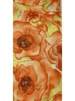Büyük Çiçek Desenli Kahverengi Empirme Şifon Kumaş - K3622