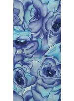 Büyük Çiçek Desenli Lila Empirme Şifon Kumaş - K3622