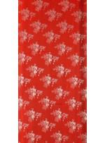 Çiçek Desenli Kırmızı Jakarlı Saten Kumaş - 101 - K3812