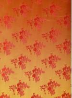 Çiçek Desenli Sarı Jakarlı Saten Kumaş - 102 - K3812