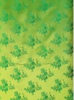 Çiçek Desenli Yeşil Jakarlı Saten Kumaş - 103 - K3812