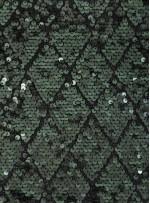 Baklava Desenli Yeşil - Zümrüt Payetli Kumaş - K3839