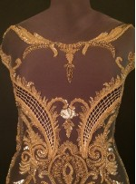 Etnik Desenli ve Saçaklı - Payetli - Boncuklu Gold - Lacivert Kupon Elbise - A40019