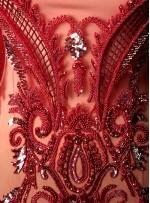 Etnik Desenli ve Saçaklı - Payetli - Boncuklu Kırmızı Kupon Elbise - A40019