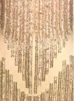 Akış ve Ritim Desenli Payetli - Boncuklu Beyaz - Gümüş Kupon Elbise - A40190