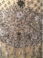 Etnik Çiçek Desenli Payetli - Boncuklu Gri Kupon Elbise - A40201