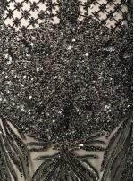 Etnik Çiçek Desenli Payetli - Boncuklu Siyah Kupon Elbise - A40201