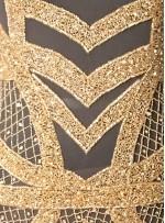 Etnik Desenli Yoğun Gold Payetli - Boncuklu Kupon Elbise - A40205
