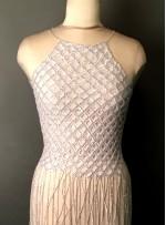 Yarısı File ve Yarısı Püskül Desenli Payetli - Boncuklu Beyaz - Gümüş Kupon Elbise - A40206