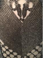 Etnik Desenli Yoğun Payetli ve Boncuklu Antrasit Kupon Elbise - A40215