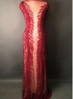 Püskül Yollu Yoğun Payetli ve Boncuklu Kırmızı Kupon Elbise - A40329