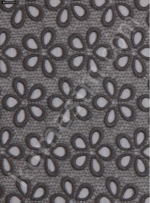Çiçek Desenli Güpür - Gri - K4045