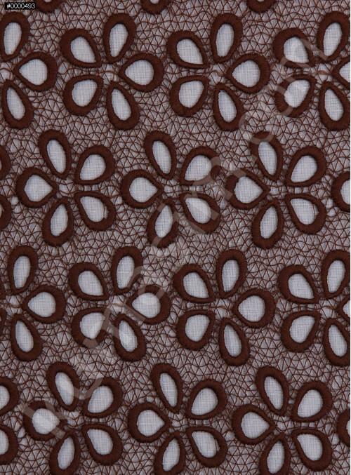 Çiçek Desenli Güpür - Kahve - K4045