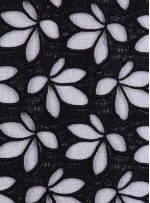 Çiçek Desenli Siyah Güpür Kumaş - K4076