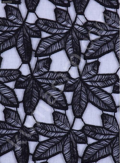 Çiçek Desenli Güpür - Siyah - K4077