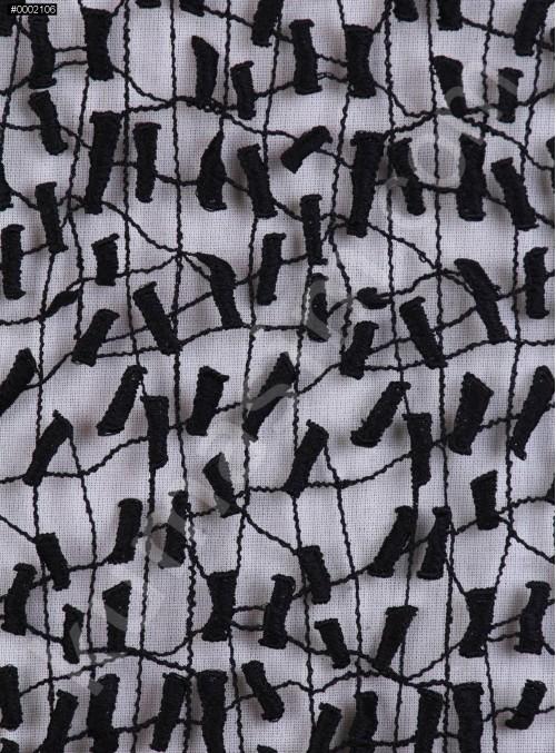 Karışık Desenli Siyah Güpür Kumaş - K4087