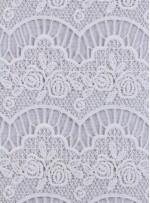 Dalgalı ve Çiçek Desenli Beyaz Dilimli Güpür Kumaş - K4110