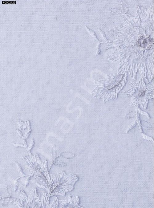 Çiçek Desenli Kesilebilir Gümüş Aplik Kumaş - K5000