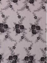 Gümüş İplikli Siyah Nakışlı ve Kordoneli Kumaş - K5042