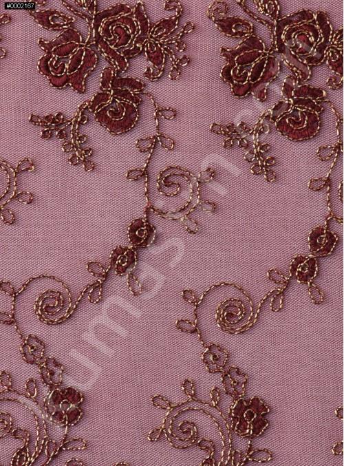 Çiçek Desenli Kordoneli ve Nakışlı Bordo Güpür - K5043