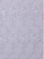 Çiçek Desenli Kordoneli ve Nakışlı Gümüş Beyaz - K5043