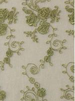 Çiçek Desenli Kordoneli ve Nakışlı Yeşil Güpür - K5043