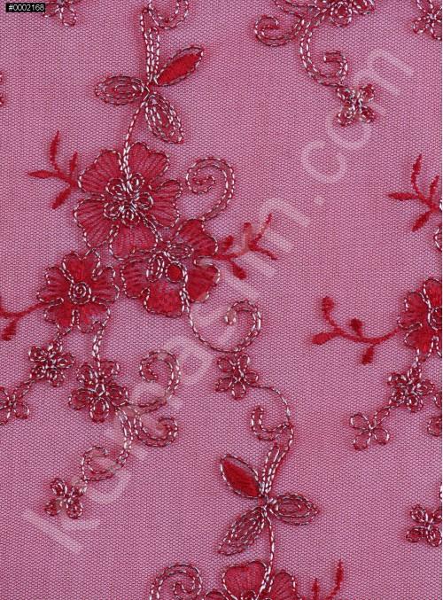 Gümüş İplikli Kırmızı Kordoneli Nakışlı Kumaş - K5044