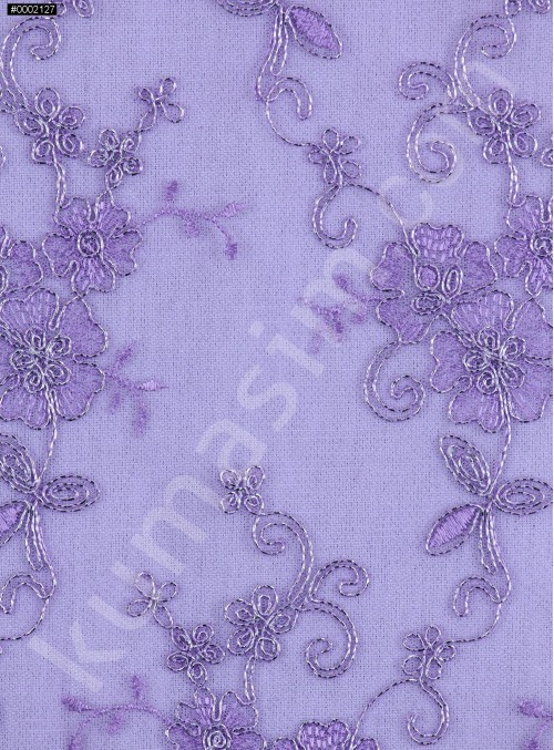 Gümüş İplikli Lila Kordoneli Nakışlı Kumaş - K5044