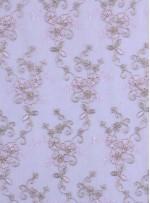 Gümüş İplikli Pudra Kordoneli Nakışlı Kumaş - K5044