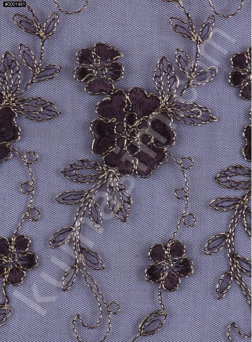 Çiçek Desenli Kordoneli ve Nakışlı Kahve Kumaş - K5045