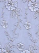Çiçek Desenli Kordoneli ve Nakışlı Kemik Kumaş - K5045