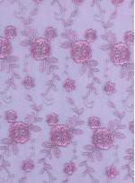 Çiçek Desenli Kordoneli ve Nakışlı Pembe Kumaş - K5045