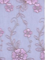 Çiçek Desenli Kordoneli ve Nakışlı Pudra Kumaş - K5045