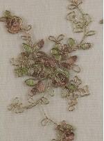Çiçek Desenli Hardal Kordoneli Nakışlı Kumaş - K5046
